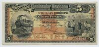 Мексика 5 песо 1914 г. №465S  BANCO PENINSULAR MEXICANO XF